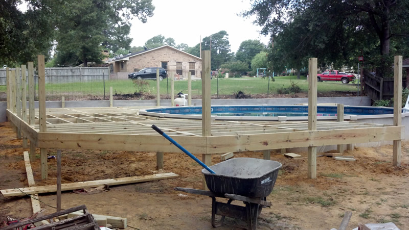 Custom wooden deck thompson builders - Custom above ground pool ...