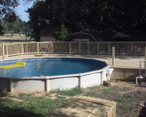 Outdoor Living Space - building the deck for an above ground pool